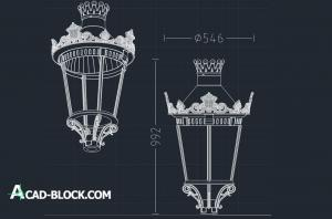 2D street lighting lantern dwg
