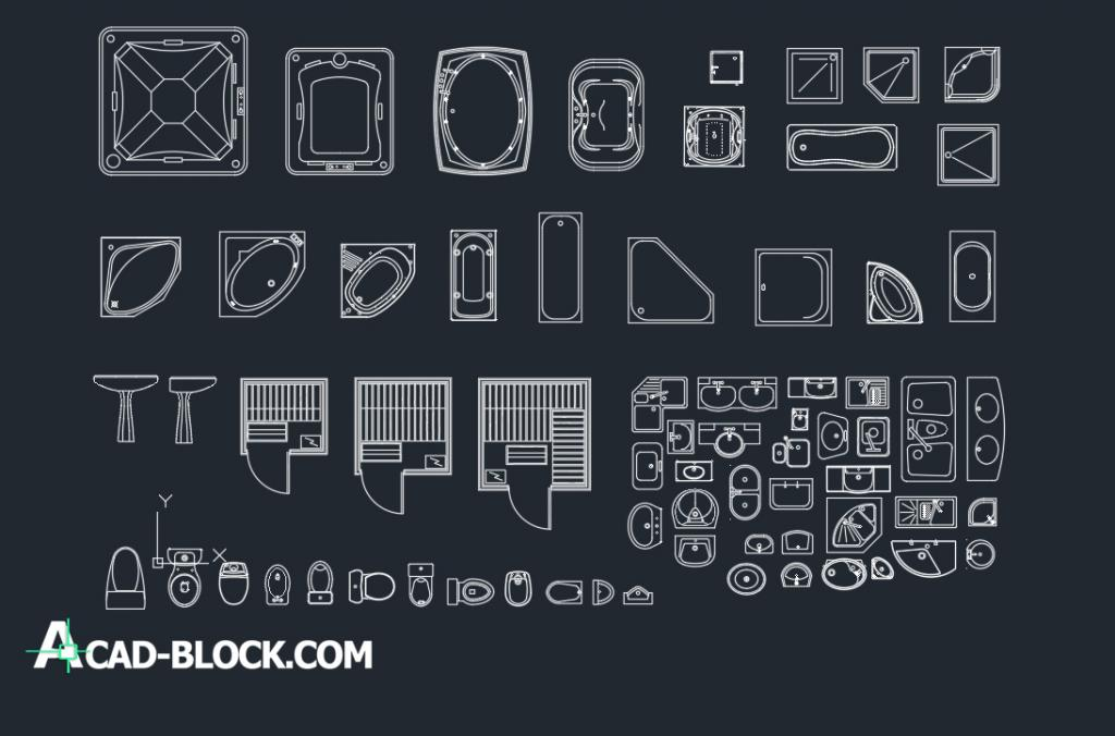 Bathroom fittings cad blocks dwg