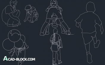 Children-dwg-cad-block