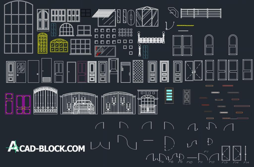 Doors 2d and 3d dwg cad blocks