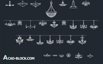 Lighting Chandeliers DWG - Candelabros