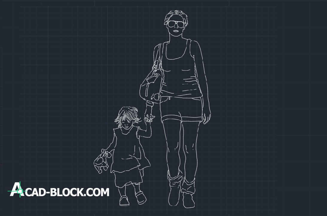 Mother and son dwg cad block