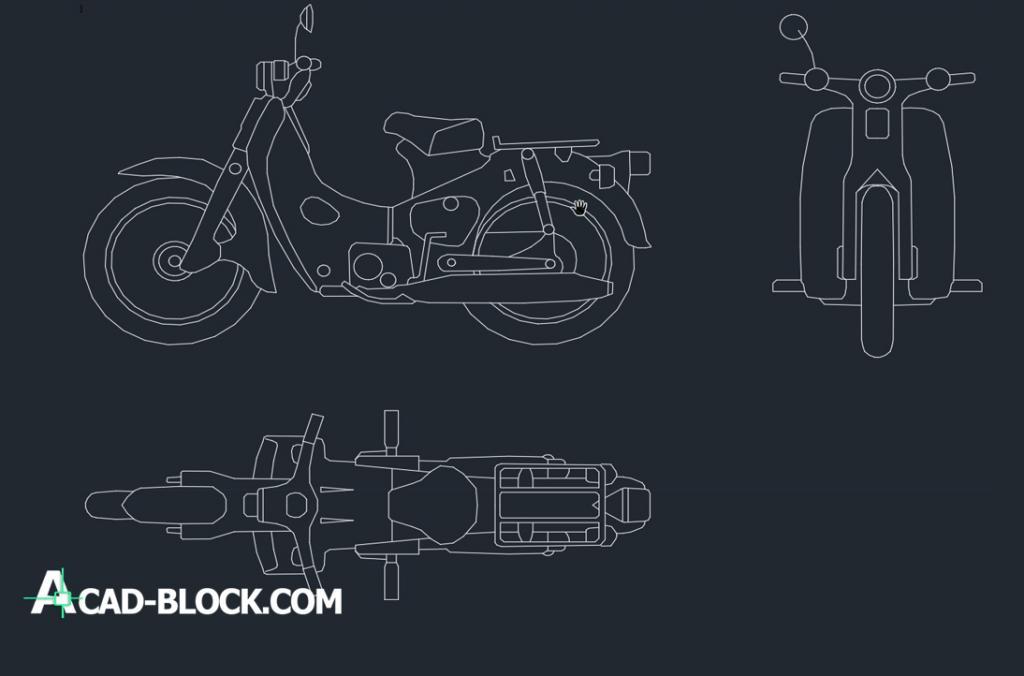 Motorcycle drawing Motoneta cad dwg