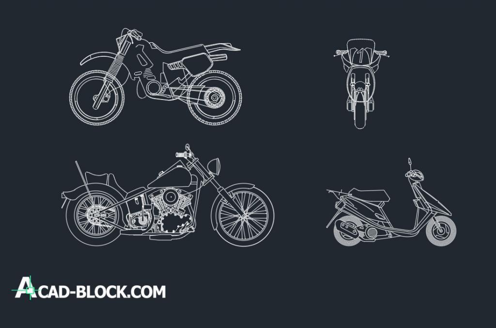 Motorcycles several dwg cad blocks