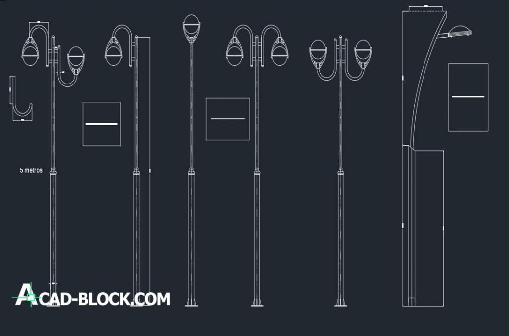 Ornamental light poles dwg