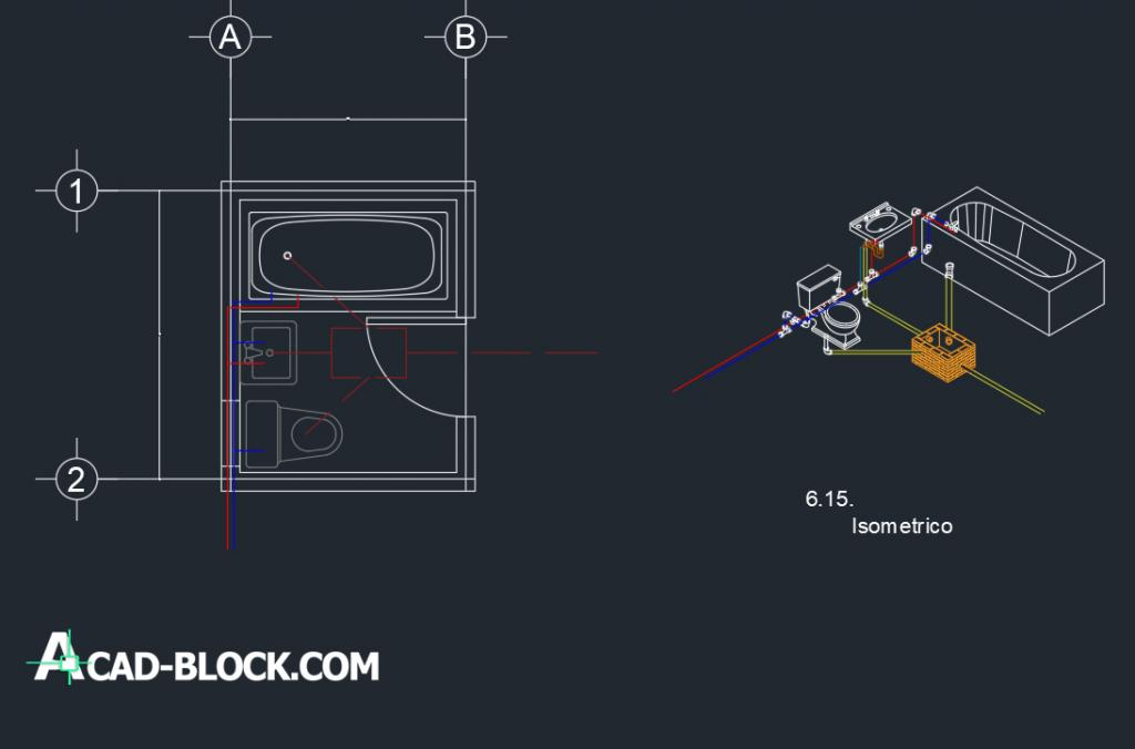 Plant and isometric of bathroom facilities dwg