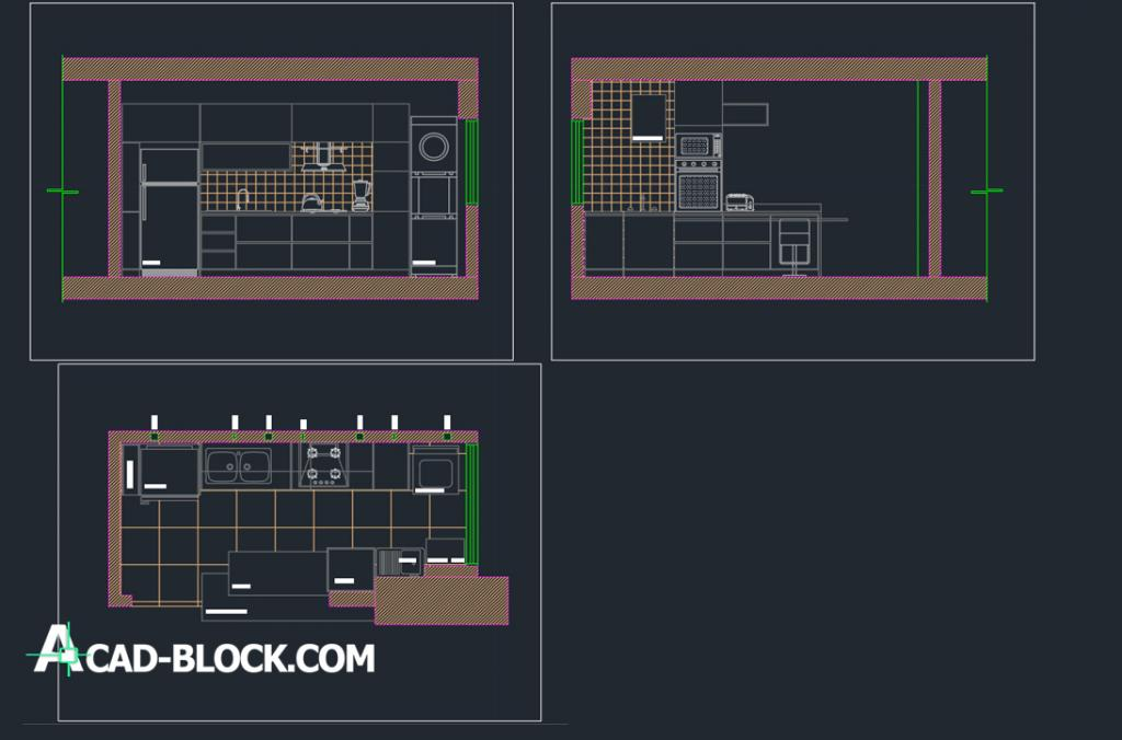 Small kitchen design dwg