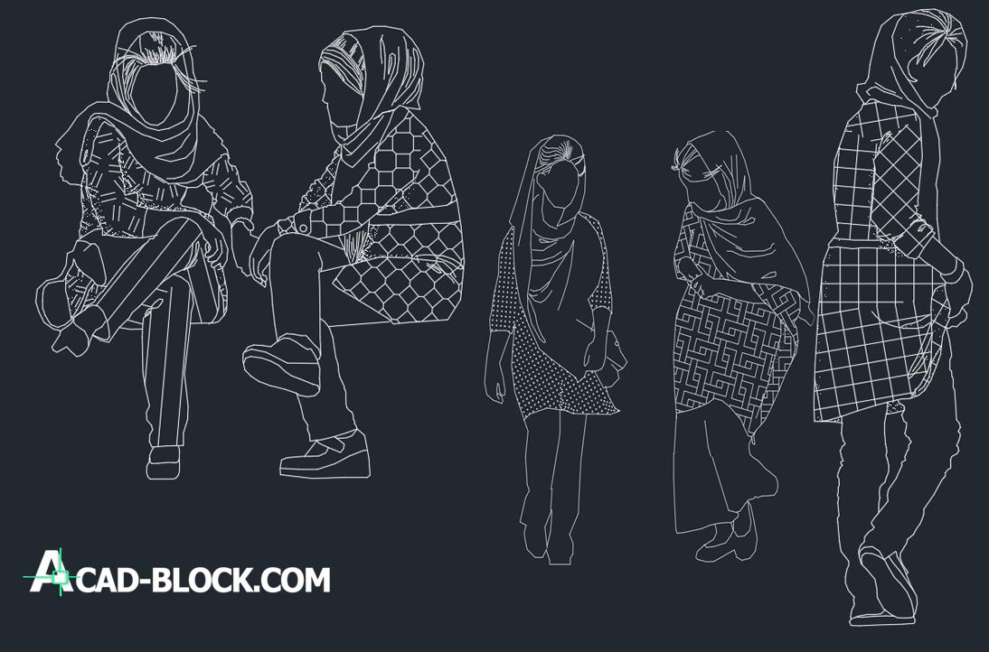 cad blocks Girls DWG
