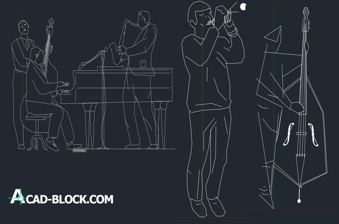 cad blocks Musicians DWG