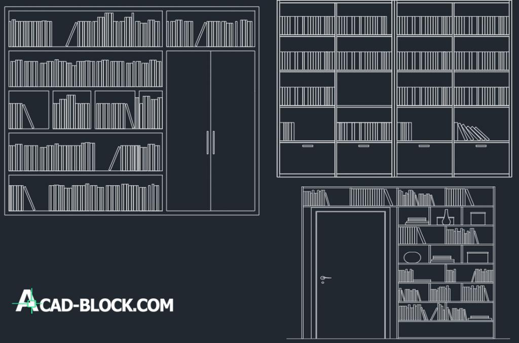 Bookcases dwg autocad