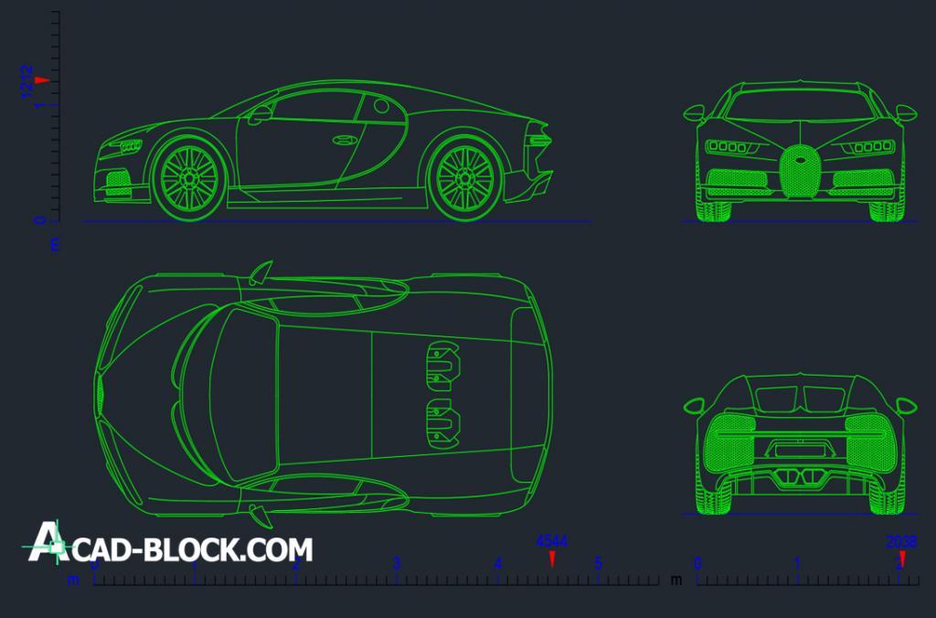 Bugatti Chiron 2016 dwg autocad
