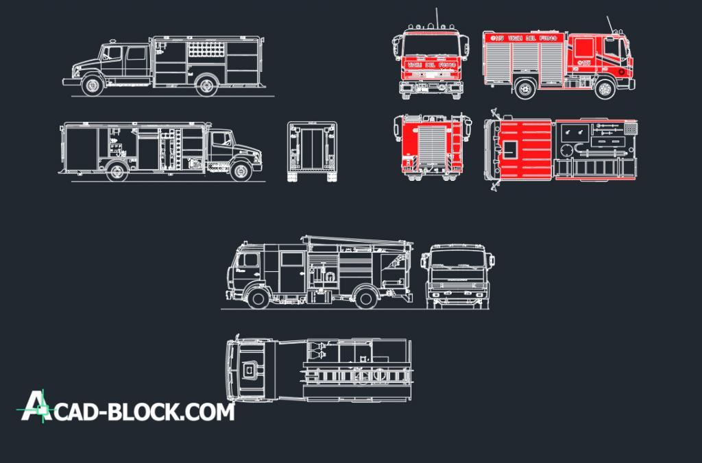 Fire trucks dwg autocad