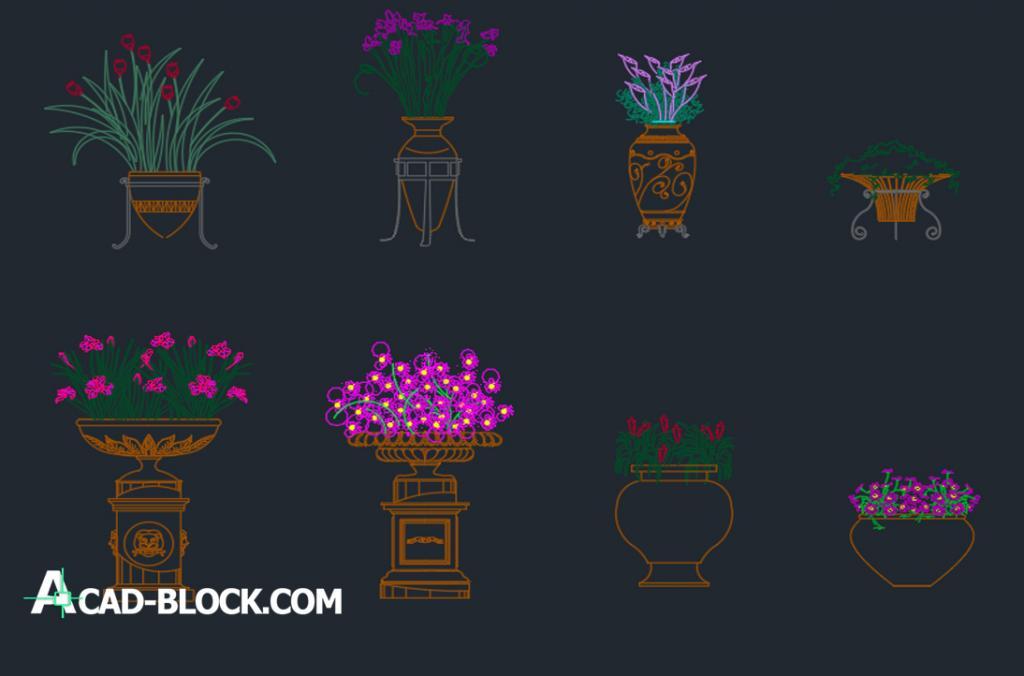 Flowers pots dwg