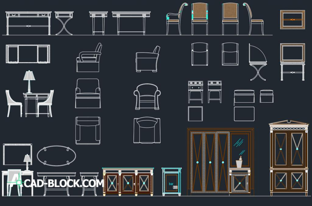 Furniture for hotels dwg autocad