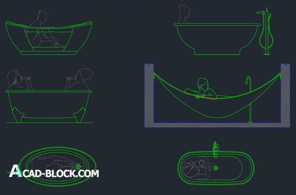 People in Bathtub dwg autocad