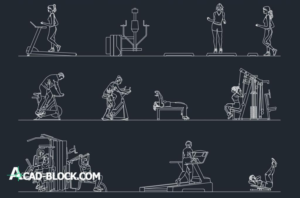 People in gym dwg autocad