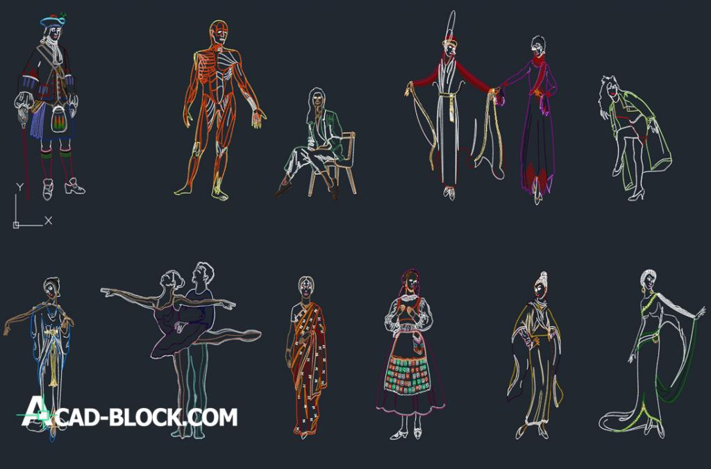 People in national dress dwg autocad