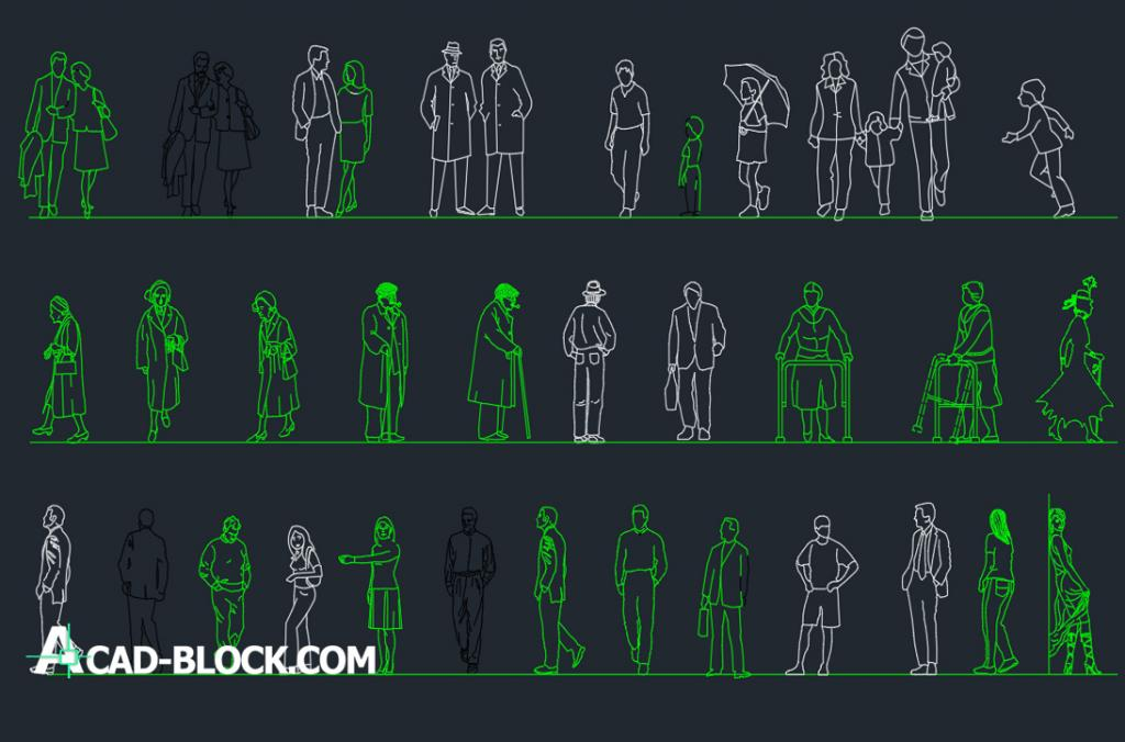 People of different ages dwg autocad