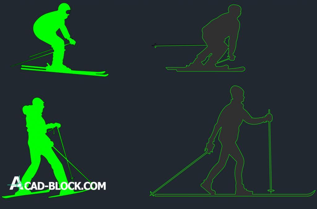 People skiing dwg autocad