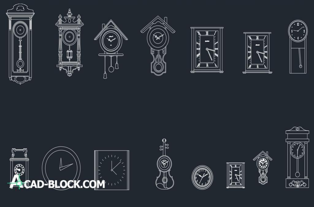Wall clocks dwg autocad