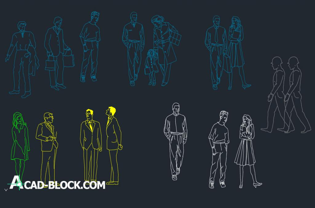 silhouettes people dwg 2d