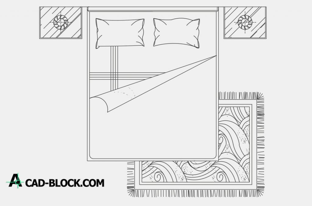 Bed accessories for a bedroom dwg autocad