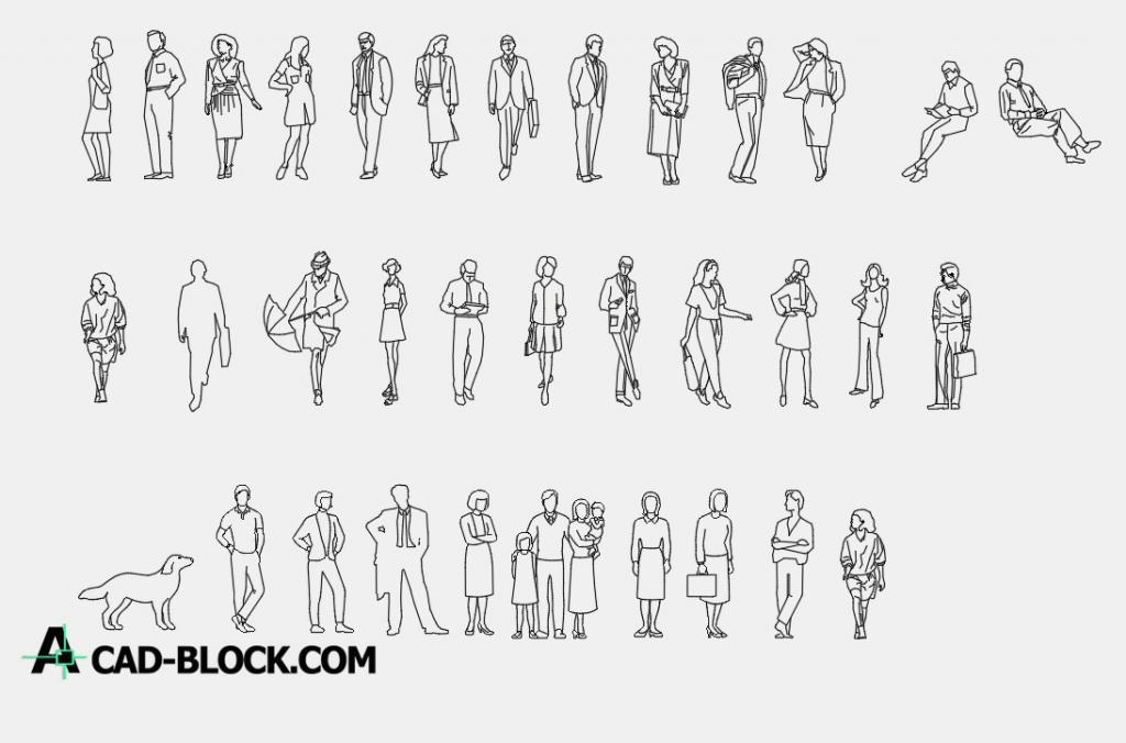 Block human figures dwg
