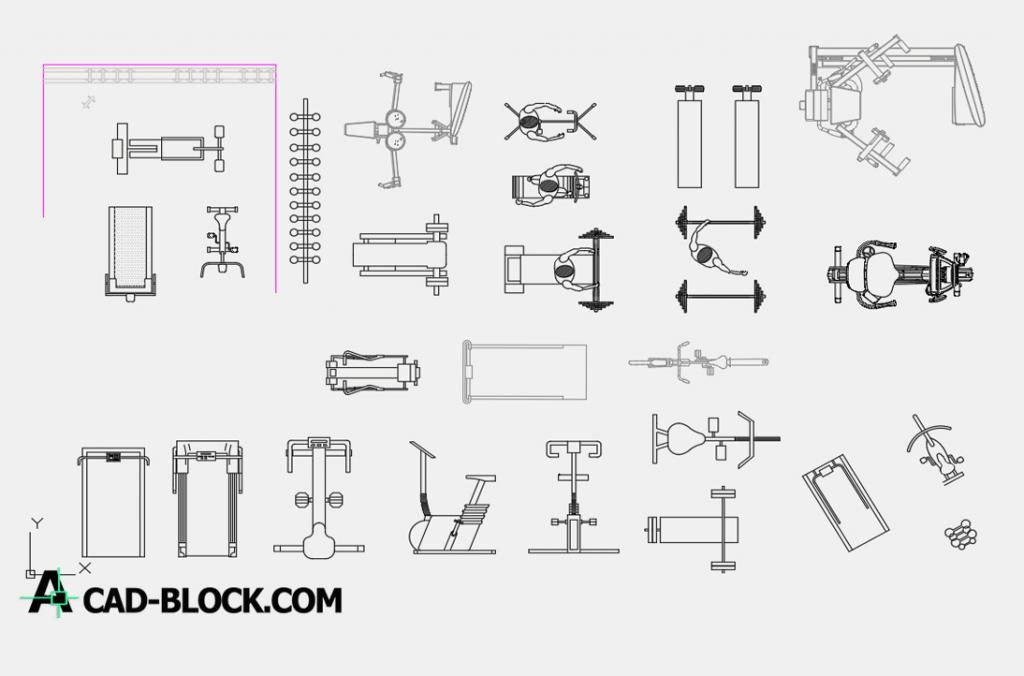 Gym machines dwg autocad