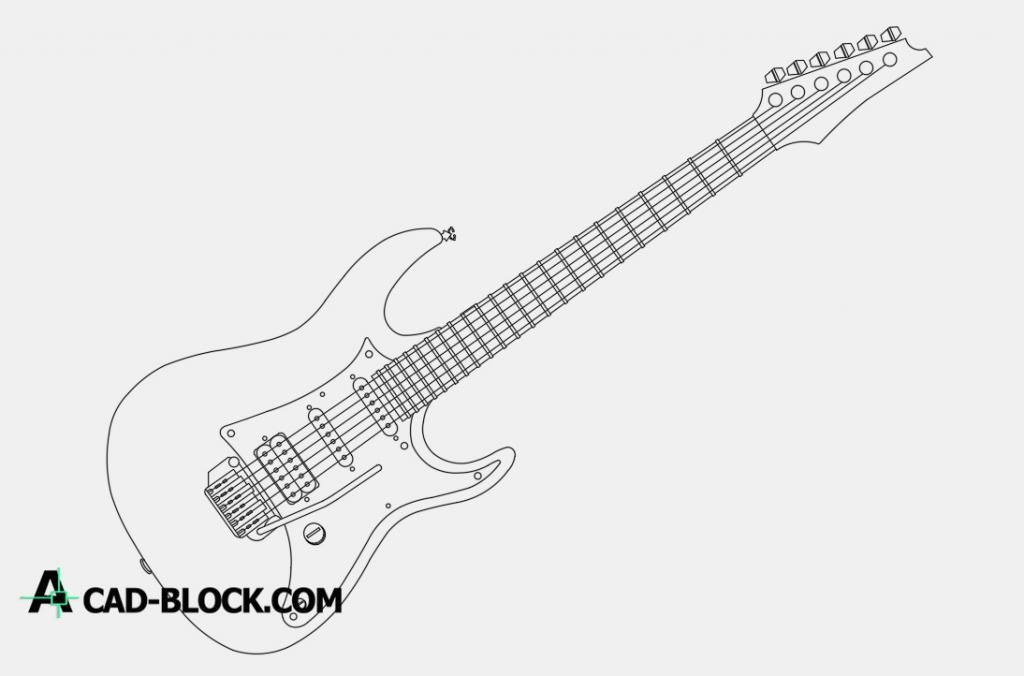 Electric guitar dwg cad