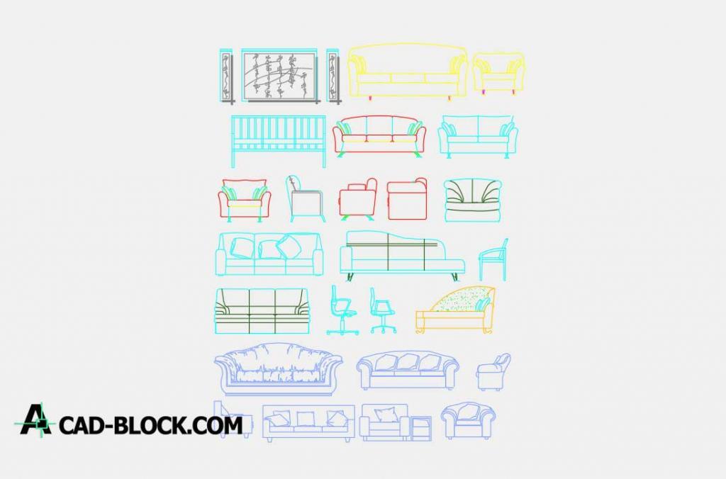Cad Elevation Drawing Sofas Dwg Free Cad Blocks