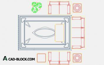 Living room 2D dwg cad
