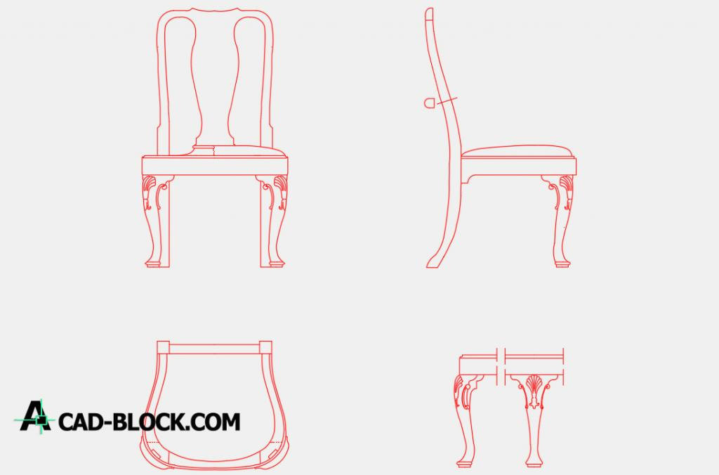Queen Anne style chair dwg cad