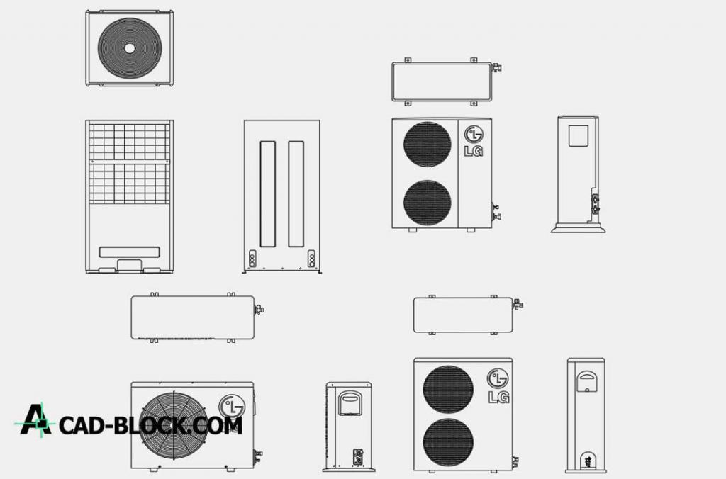▻CAD Air Conditioner LG DWG - Free CAD Blocks
