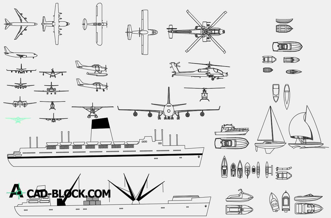 Airplanes Ships and Boats dwg cad