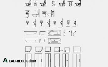Bathroom Detail Blocks dwg cad