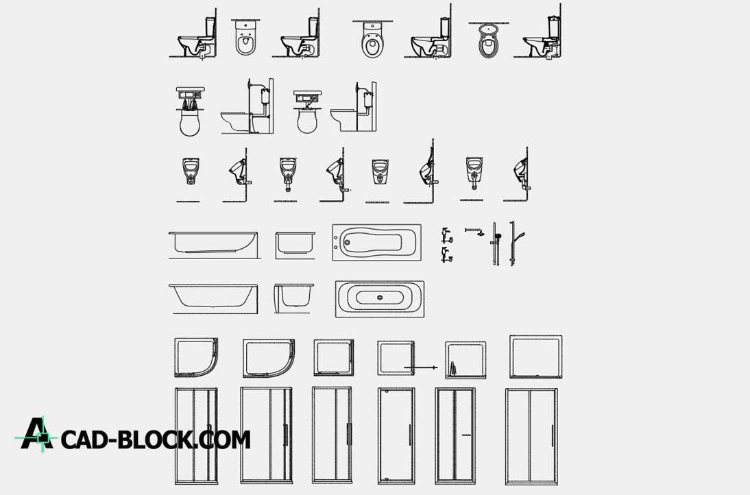Bathroom Detail Blocks dwg cad