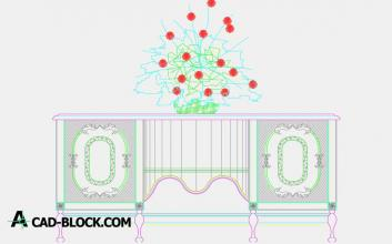 Free Cabinet and flowers dwg autocad