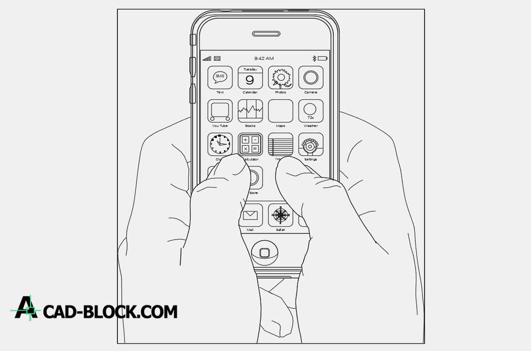 Iphone with hands dwg cad