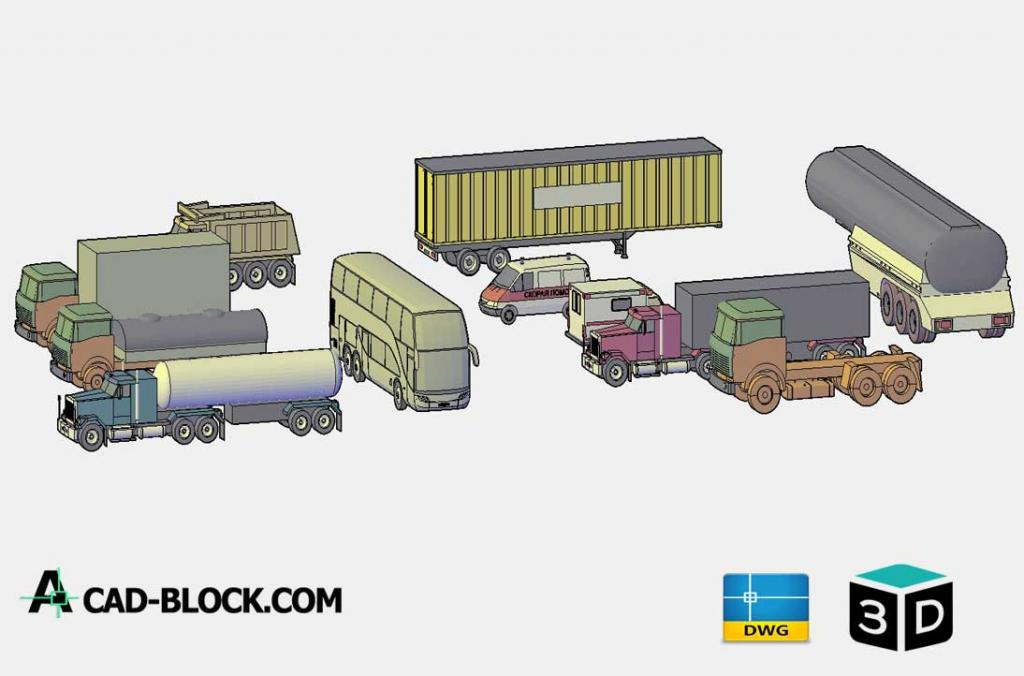 Freight vehicles 3D DWG