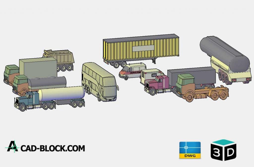 Freight vehicles 3D DWG