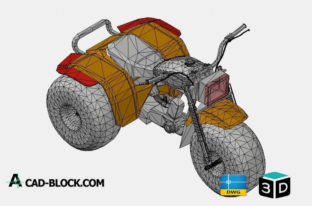 Tri-Motorbike 3D DWG