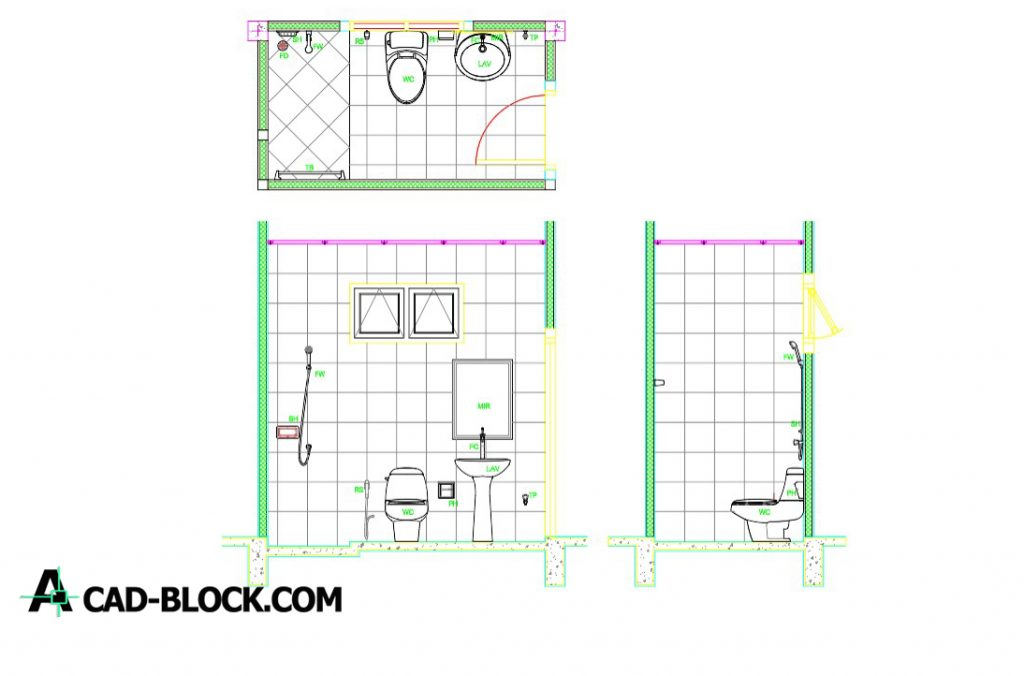 CAD Bathroom Layout DWG - Free CAD Blocks
