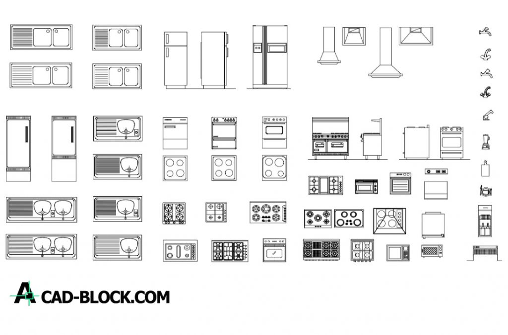 Free Blocks artifacts for kitchen dwg for Autocad