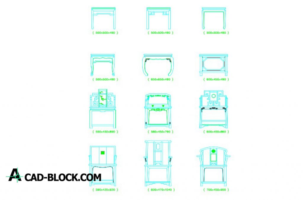 Chinese Furniture Blocks In Autocad