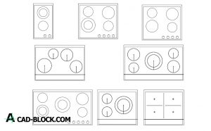 Electric Cooktops dwg in Autocad