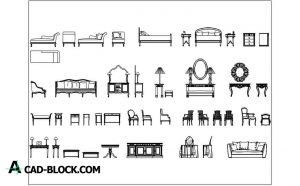 Furniture set blocks in Autocad