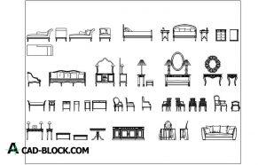 Furniture set blocks in Autocad