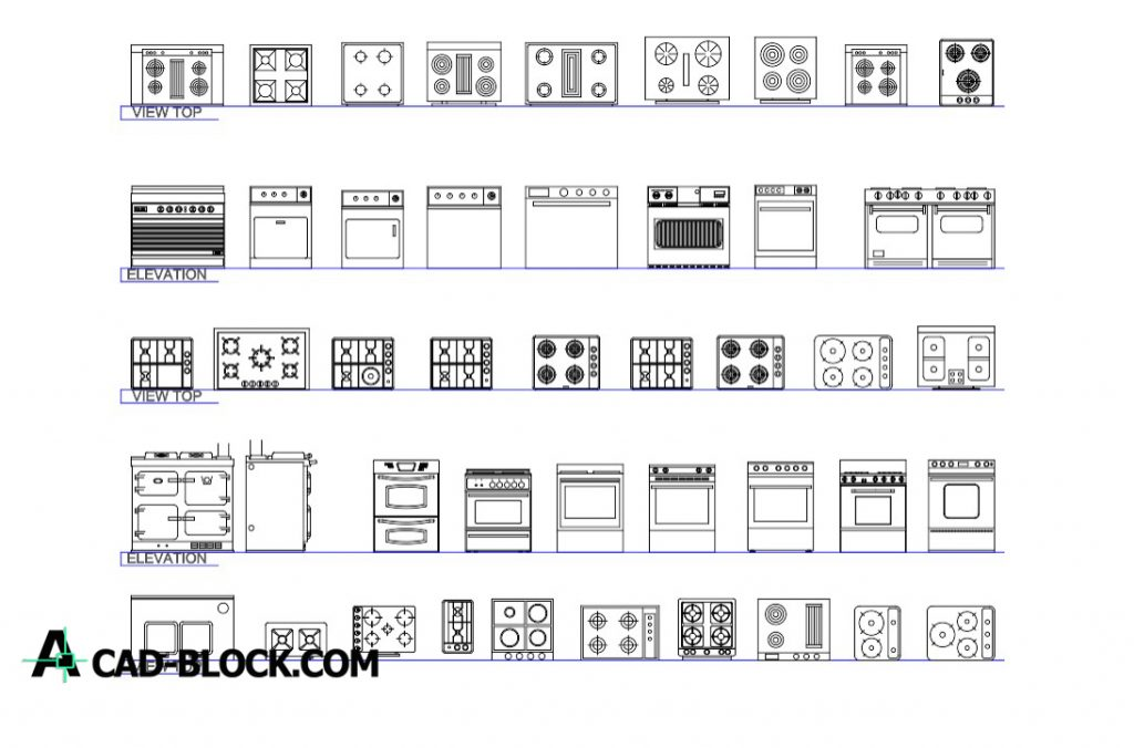 Free Kitchen blocks dwg for Autocad