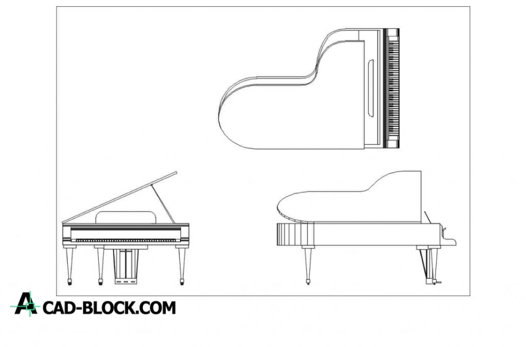 Piano Blocks dwg in Autocad