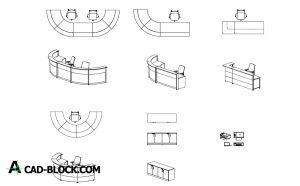 Reception Desks dwg in Autocad